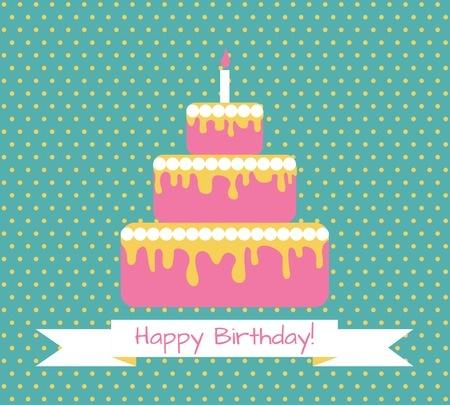 32652121 - birthday greeting retro card with cake. vector illustration